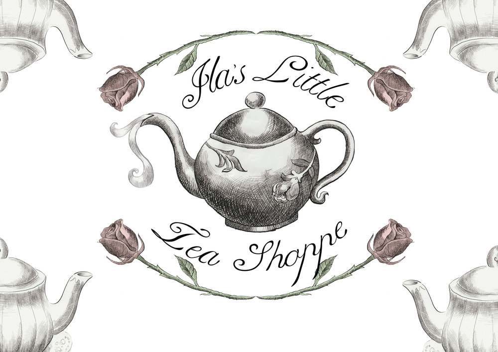 The finalized logo and my favored design for Ila's Little Tea Shoppe. With some modifications and use of symmetry this design was utility for - business cards, gift cards and stamp signage for instance.