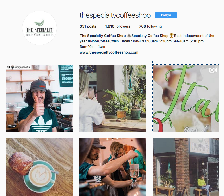 Their instagram feeds where you can see owners Michaelangelo and Lucy showcase earthy sourced imagery promoting their passion for coffee! Customers/regulars also get involved with tagging their watery beverage @thespecialitycoffeeshop. The photos promote their ethos and story, as seen from their website https://www.thespecialtycoffeeshop.com/story. This is a great addition to their homepage, giving visitors a glimpse into their passion and business.