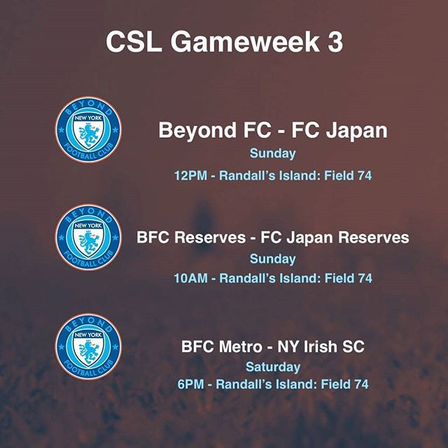 @bfcny go into the @cosmoleague weekend with games on Saturday and Sunday. #WeAreBeyond
