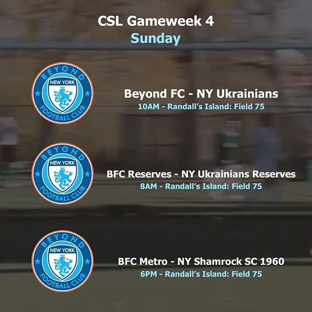 @BFCNY look to close out the first month of @CosmoLeague fixtures on a strong note. Here's the list of games for this Sunday. #wearebeyond