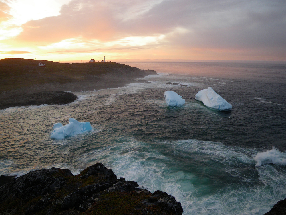 Icebergs in Quirpon Island Cove by lighthouse inn
