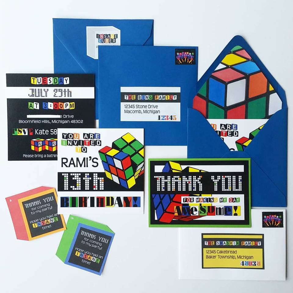 Custom Rubik's Cube Birthday Invitation Suite