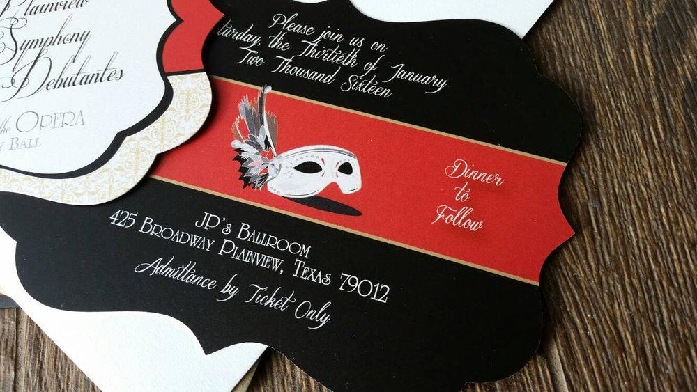 Phantom of the Opera Masquerade Ball Party Invitations — Cordial ...