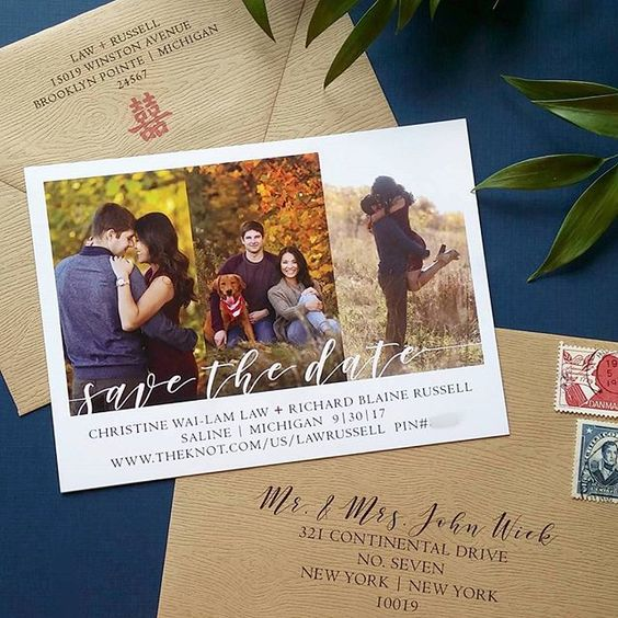 Modern Calligraphy Save the Date Magnet & Wood Grain Envelopes by Cordial Punch Press