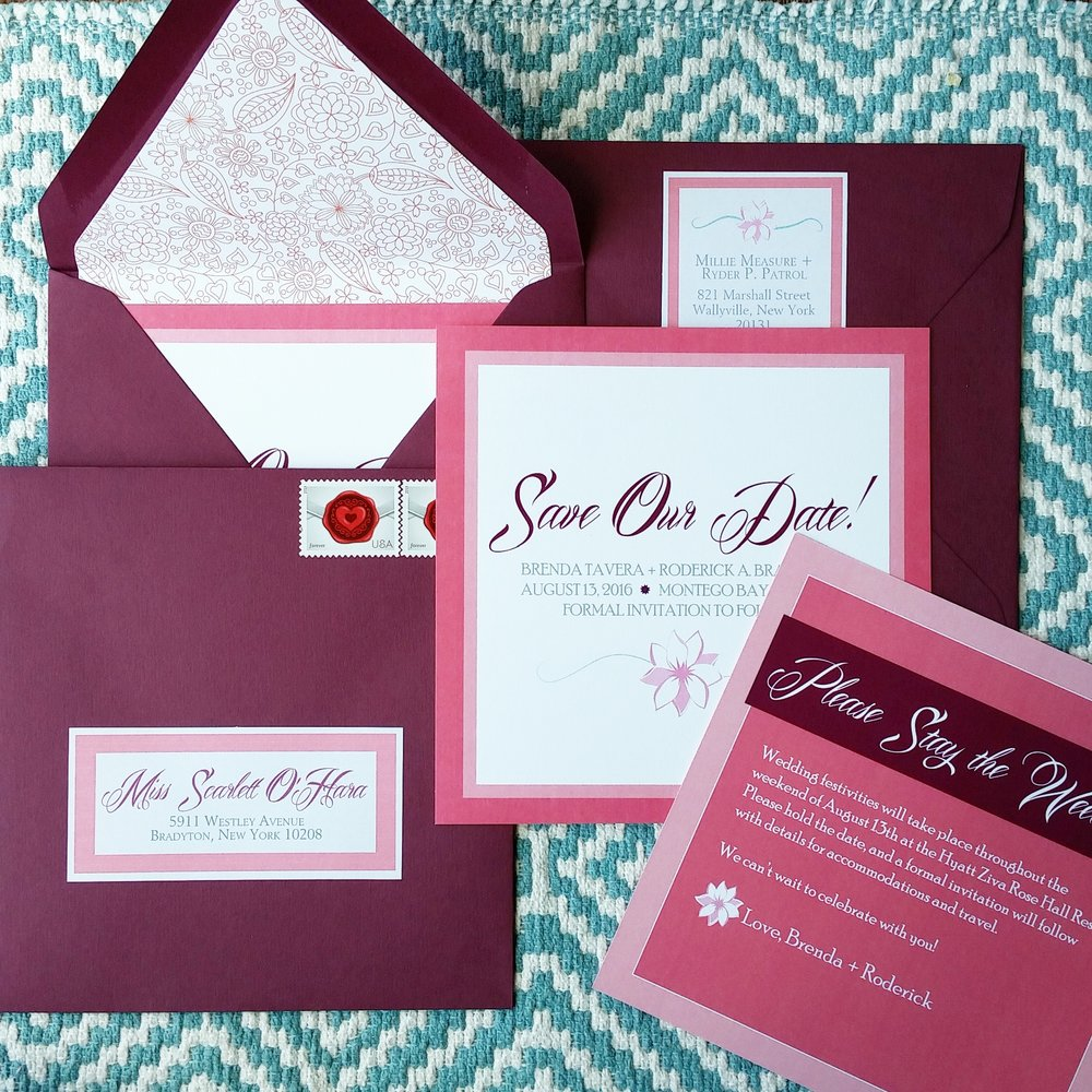 Square Island Floral Save the Date Suite with Lined Burgundy Envelopes by Cordial Punch Press