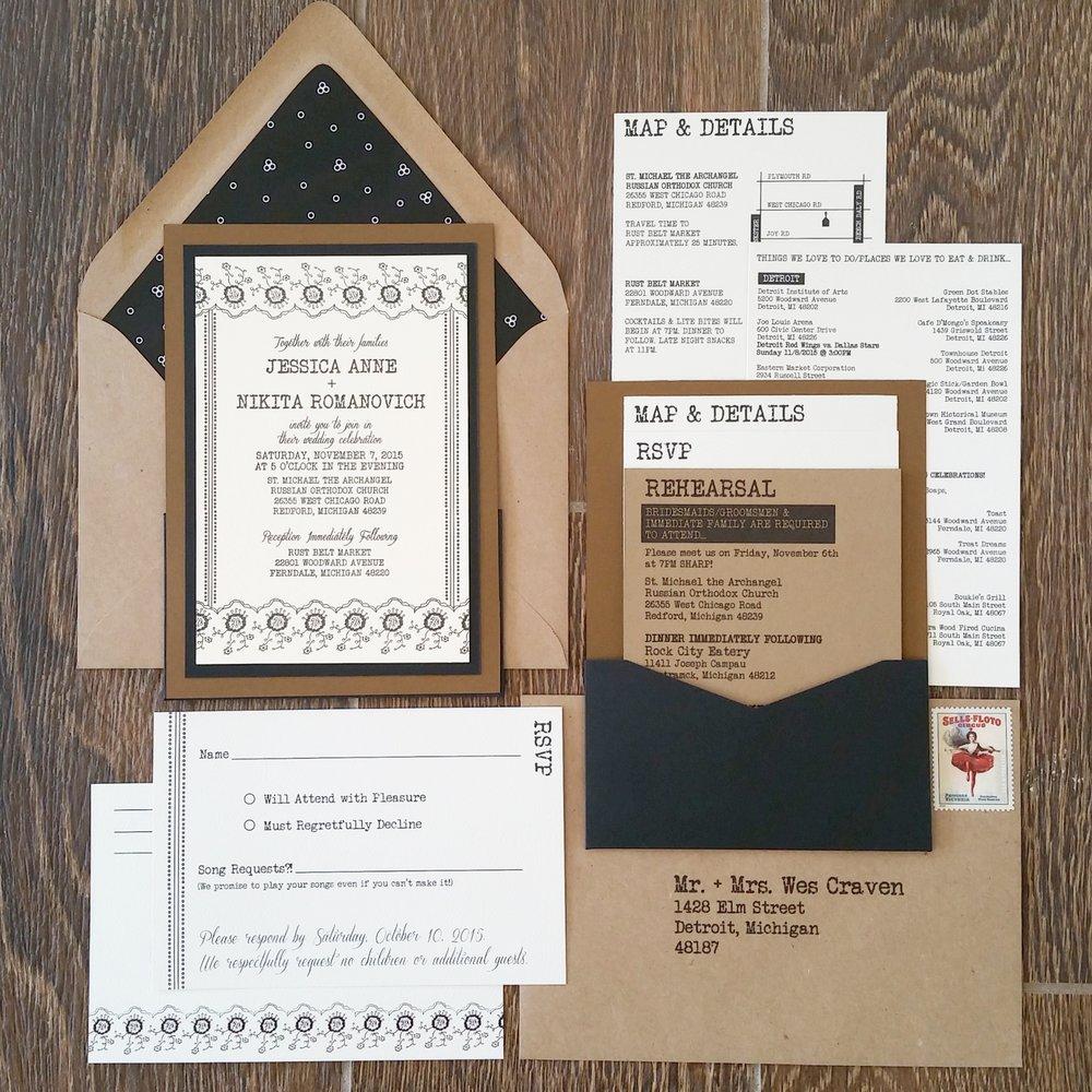Jessica Nikita Black Dot Typewriter Letterpress Panel Pocket