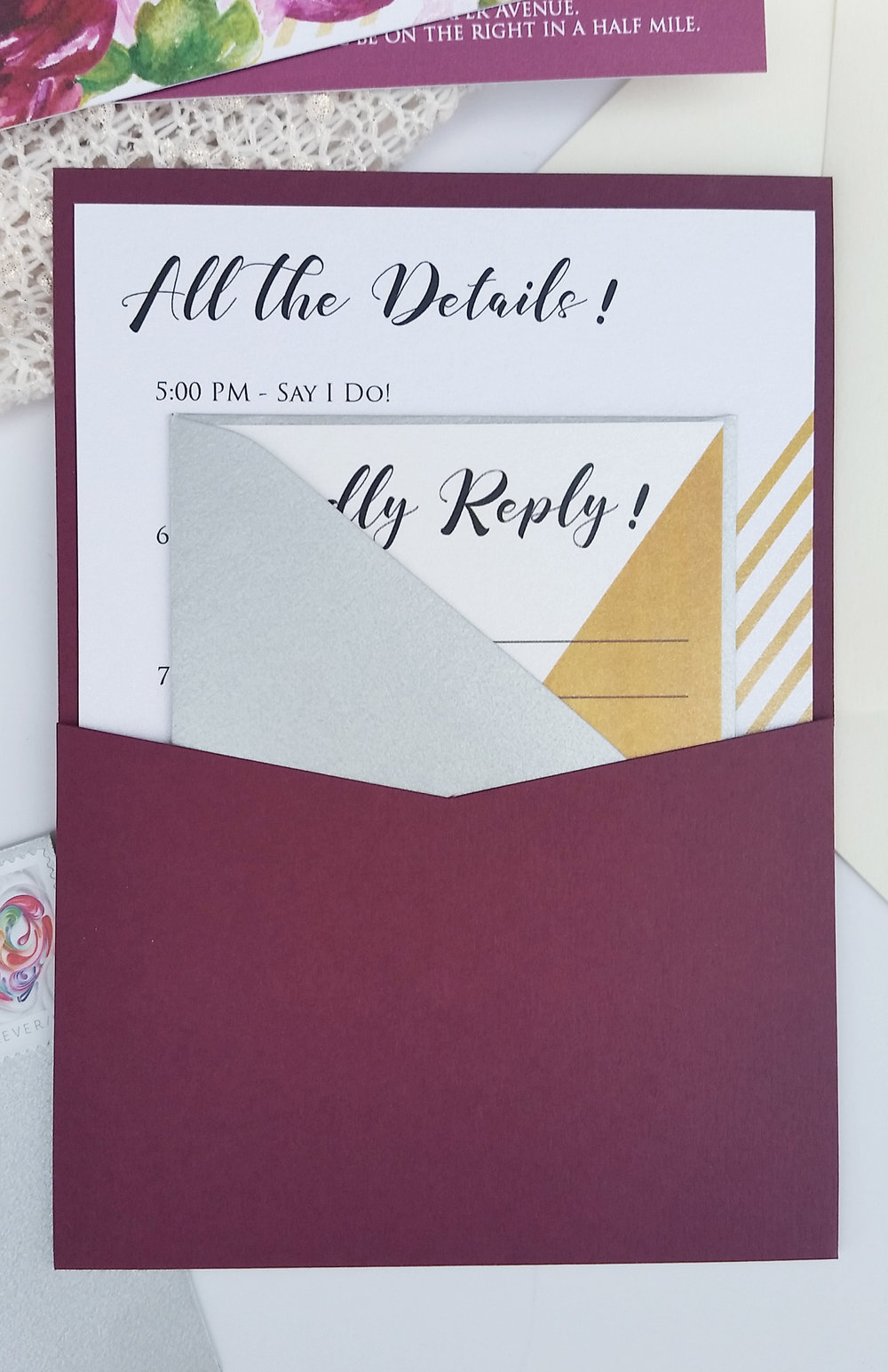 Gold & Burgundy Watercolor Floral Panel Pocket Custom Wedding Invitation, Burgundy Panel Pocket