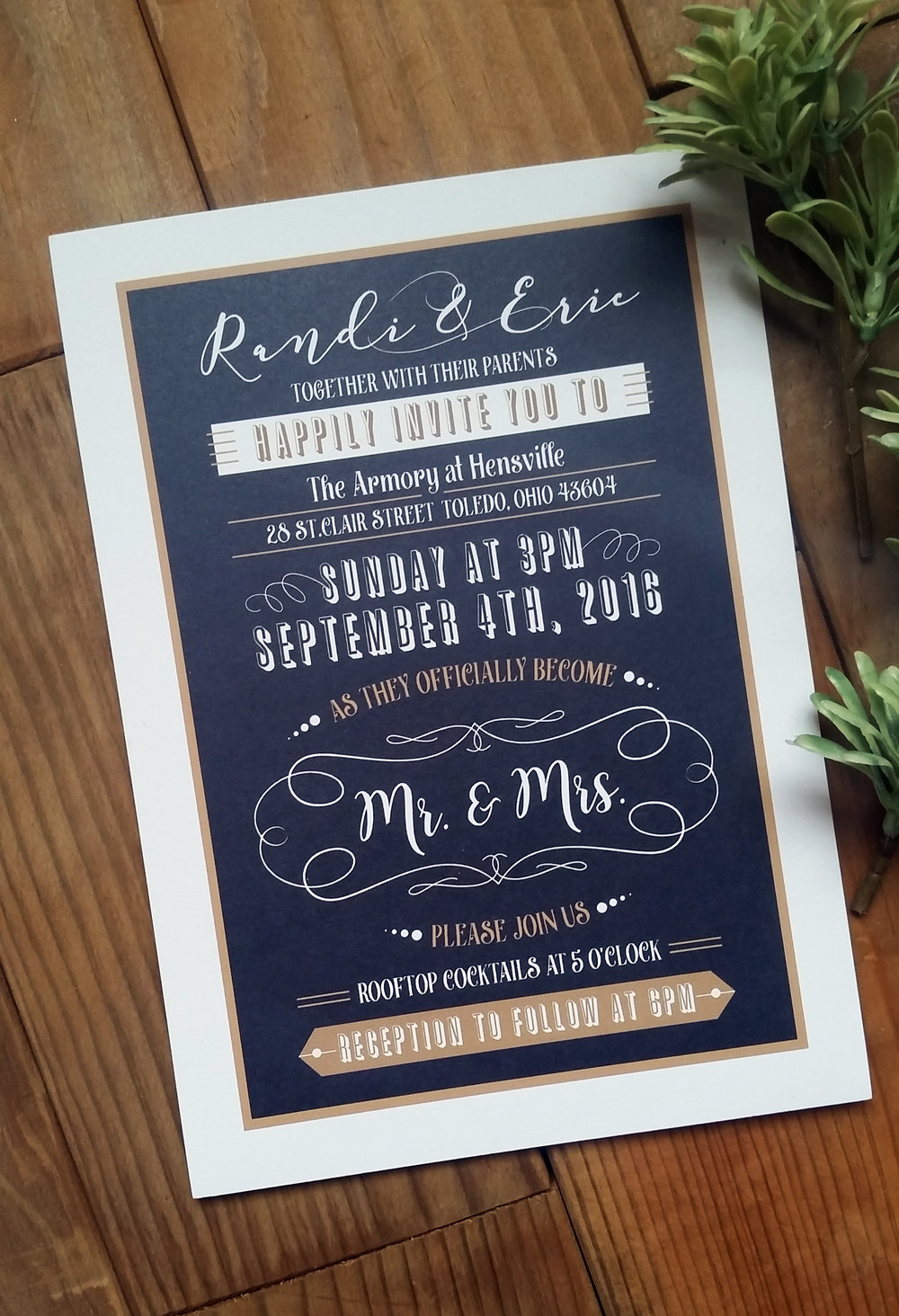 Randi + Eric | Navy & Kraft \'Mr. & Mrs.\' Pocket Wedding Invitation ...
