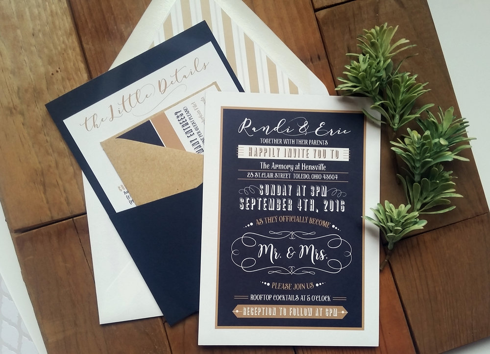 Navy Blue & Kraft Brown 'Mr. & Mrs.' Panel Pocket Wedding Invitation with Lined Envelope