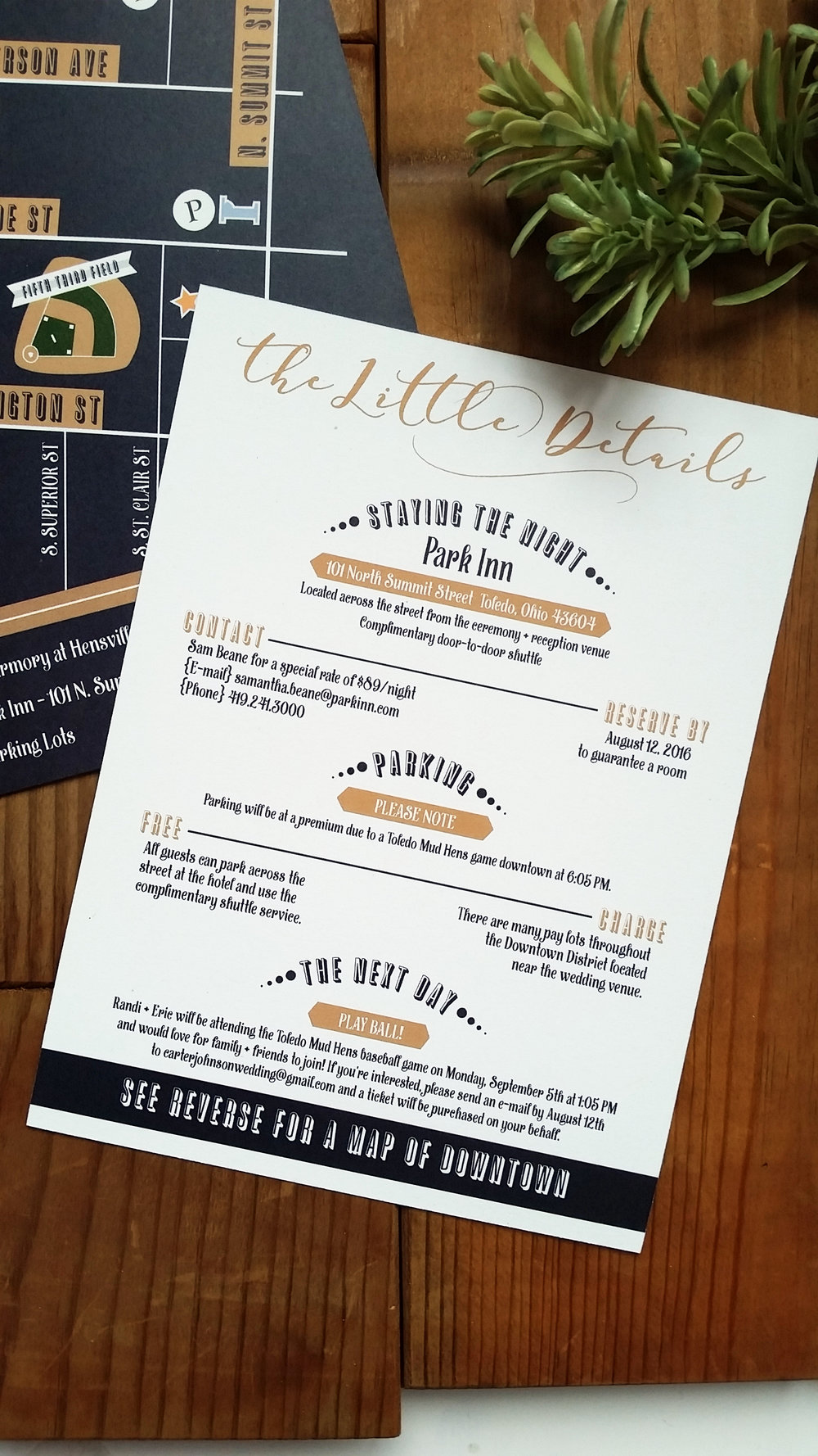 Navy Blue & Kraft Brown 'Mr. & Mrs.' Panel Pocket Wedding Invitation, All the Little Details Insert