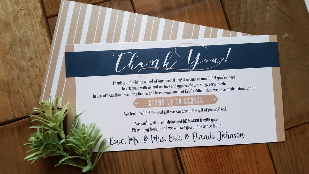 Navy Blue & Kraft Brown 'Mr. & Mrs.' Panel Pocket Wedding Invitation, In Lieu of Favors Thank You Card