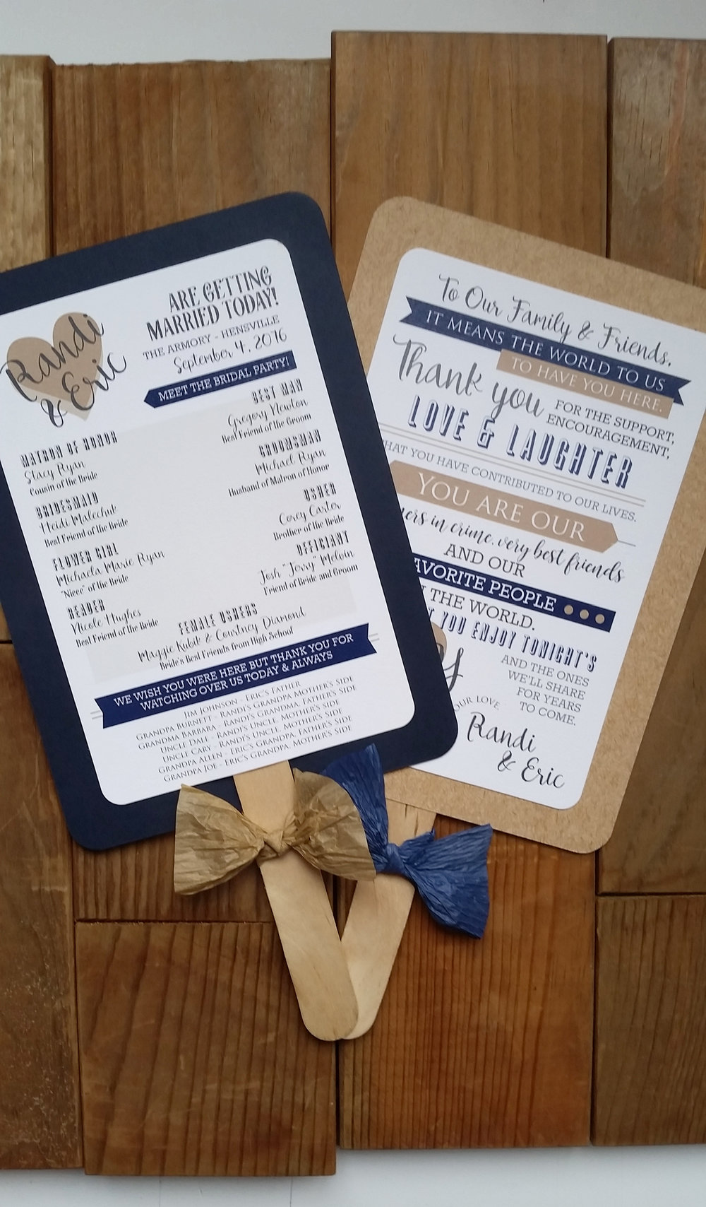 Navy Blue & Kraft Brown 'Mr. & Mrs.' Panel Pocket Wedding Invitation, Matching Ceremony Program Fans
