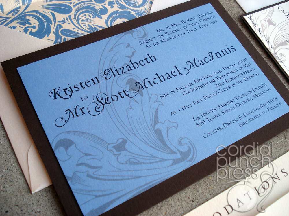 Blue, Ivory & Brown Flourish Formal Layered Wedding Invitation
