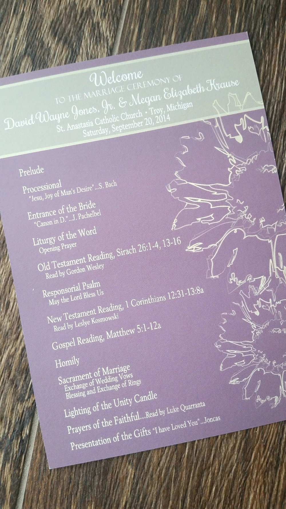 Lavender & Sage Sunflower Ceremony Program by Cordial Punch Press