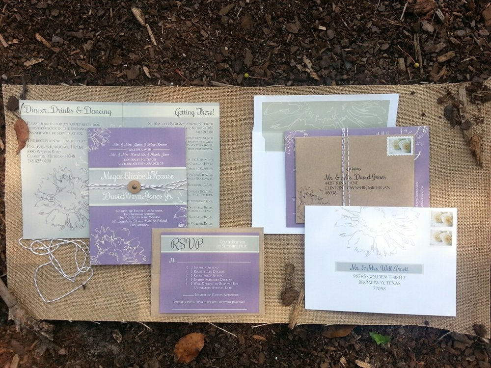 Lavender & Sage Sunflower Booklet Wedding Invitation by Cordial Punch Press