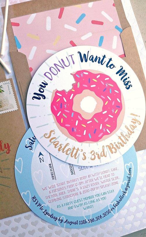 Pink sprinkle donut birthday invitation envelope with sprinkle pink sprinkle donut birthday invitation envelope with sprinkle liner return label set filmwisefo