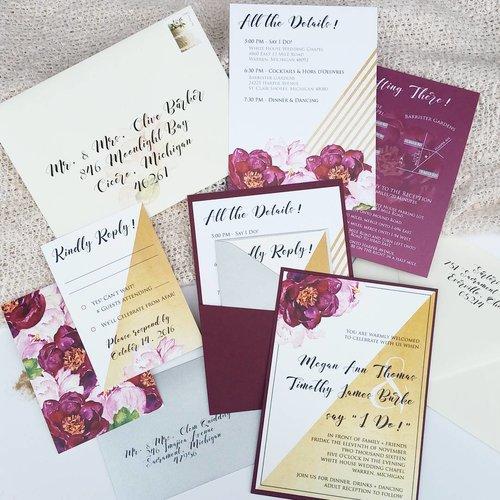 watercolor gold burgundy pocket wedding invitation suite