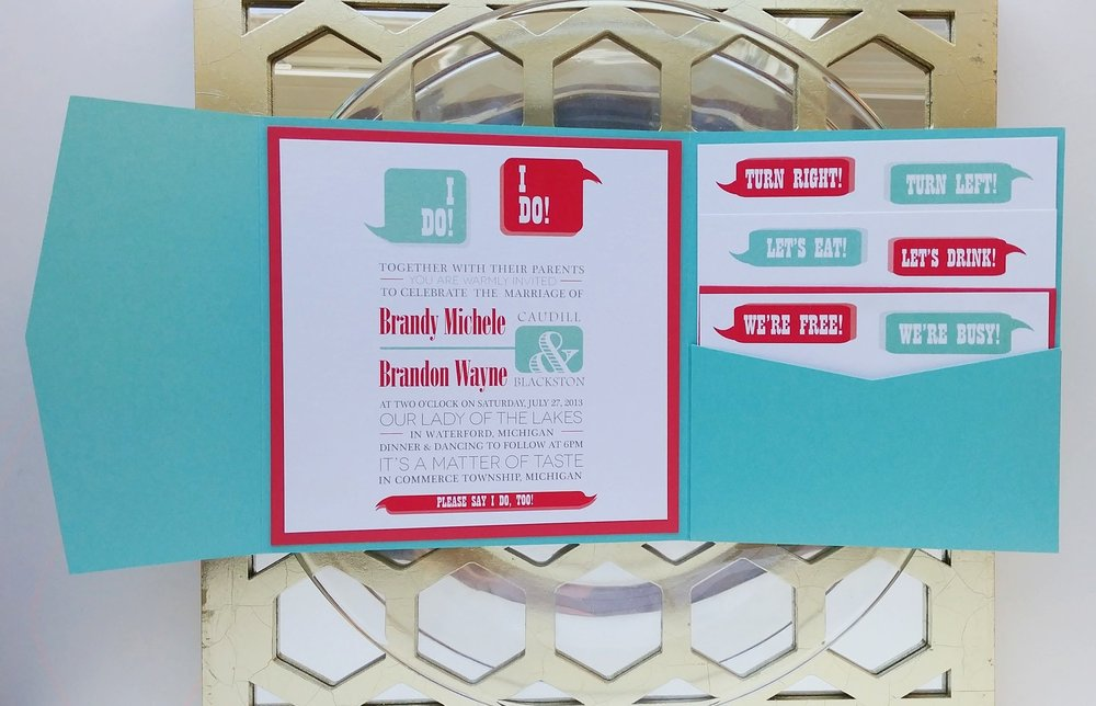 Copy of Red & Turquoise Word Bubble I Do! Square Pocket Wedding Invitation Suite