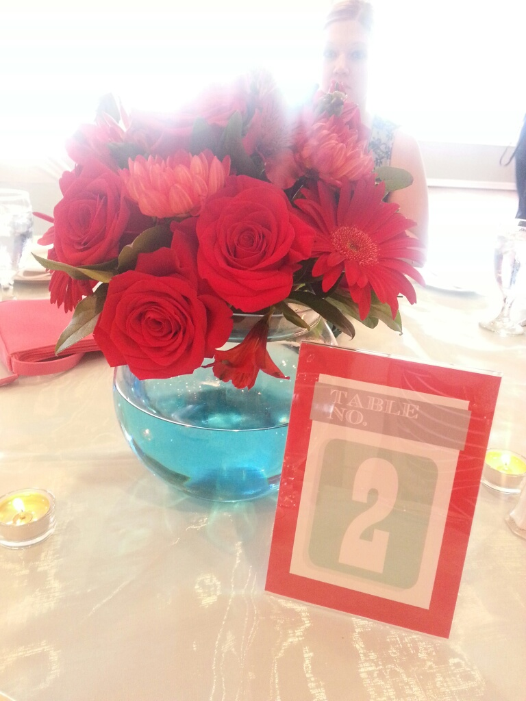 Copy of Red & Turquoise Word Bubble I Do! Reception Table Numbers