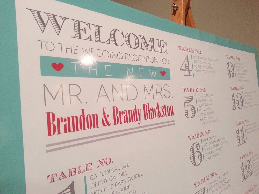 Copy of Red & Turquoise Word Bubble I Do! Reception Seating Chart
