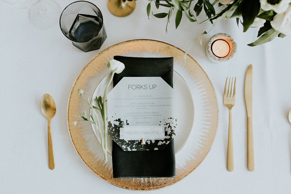 Vellum Wedding Menu & Place Card by Cordial Punch Press
