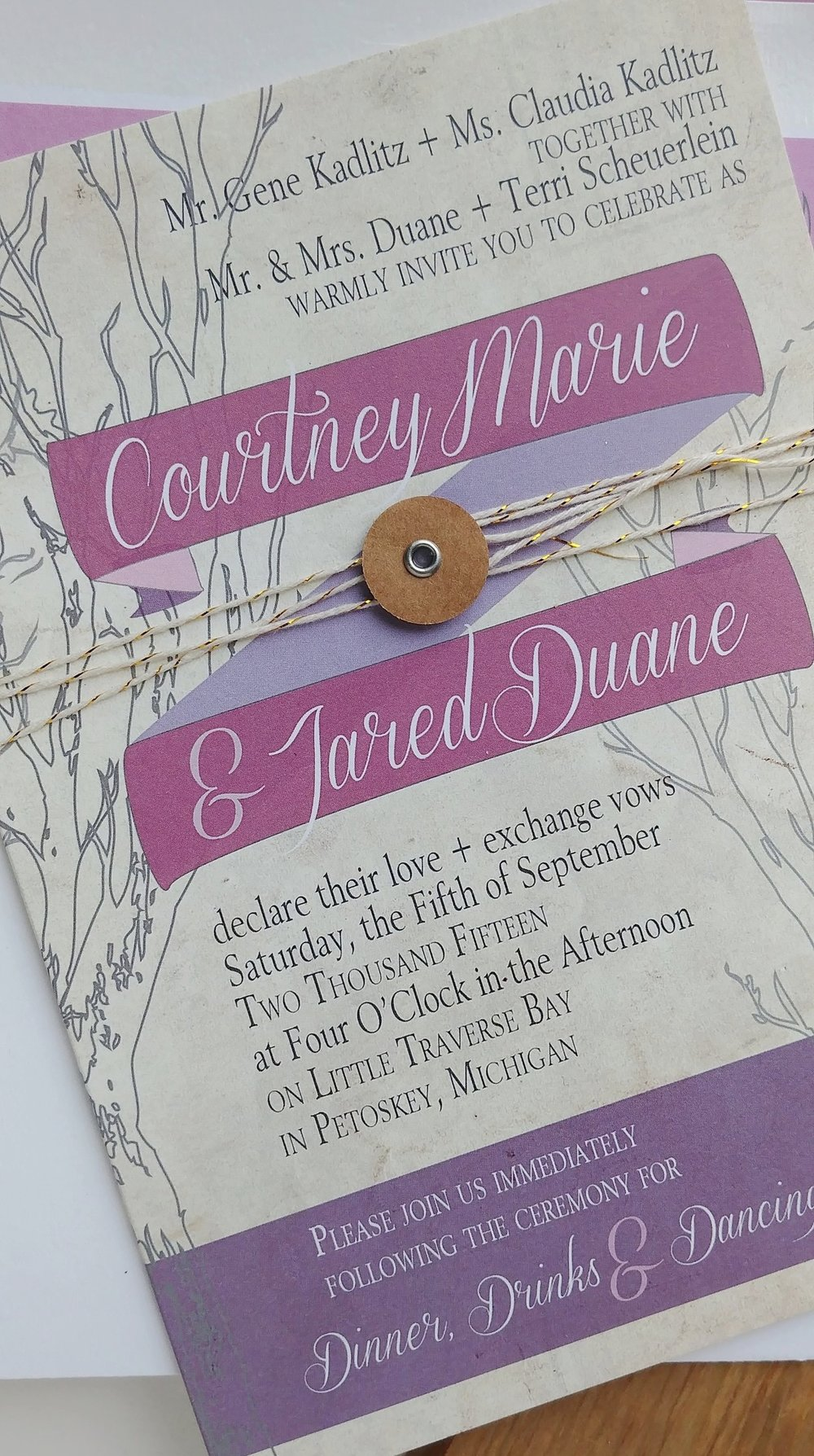 Mauve Rustic Outdoor Wedding Invitation by Cordial Punch Press