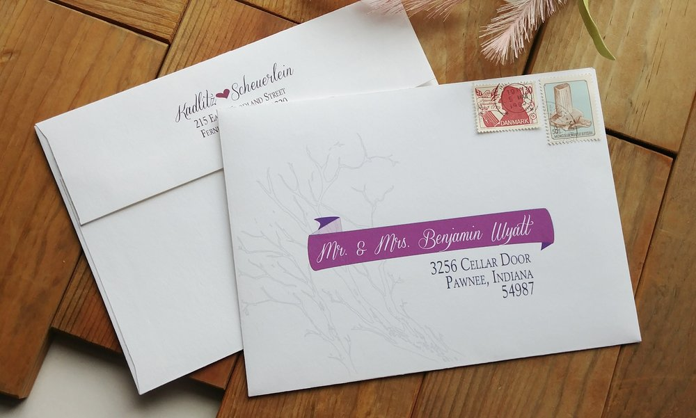 Printed Envelopes, Rustic Outdoor Wedding Invitation by Cordial Punch Press