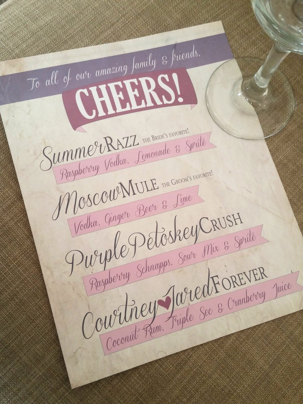 Signature Drink Menu, Rustic Outdoor Wedding Invitation by Cordial Punch Press