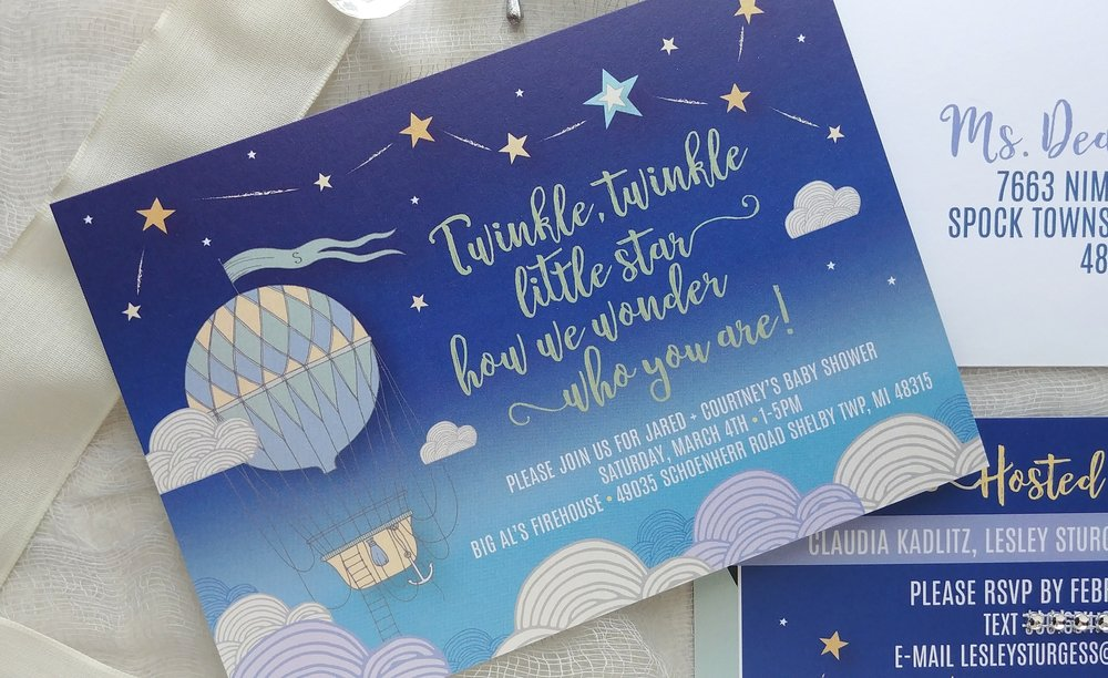 Twinkle Little Star Hot Air Balloon Baby Shower Invitation — Cordial ...