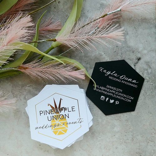 Custom business cards marketing materials cordial punch press hexagon die cut gold foil printing for pineapple union business cards reheart Gallery