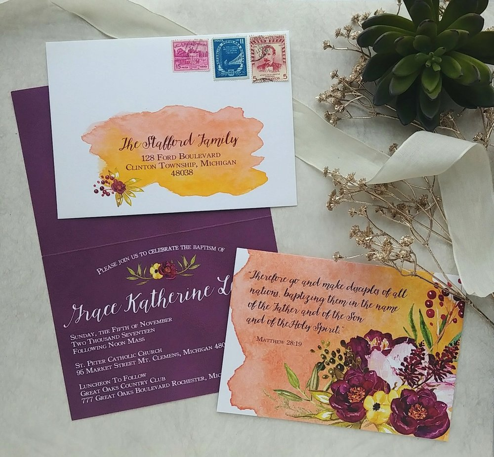 Plum Sunrise Watercolor Baptism Invitation Cordial Punch Press