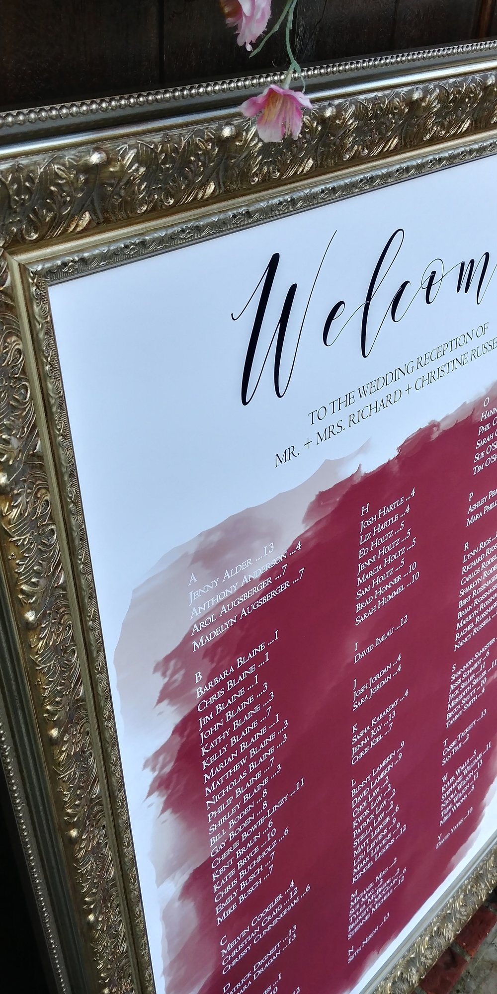 Burgundy Watercolor Wedding Seating Chart by Cordial Punch Press