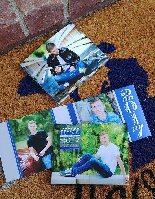 blue white tri fold graduation announcement with envelopes thank