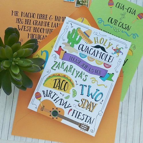 taco twos day birthday invitation suite cordial punch press