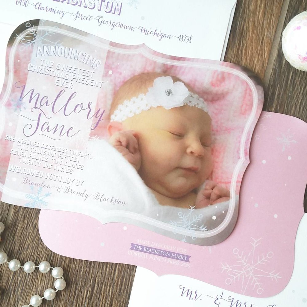 Pink Snowflake Winter Baby Girl Birth Announcement