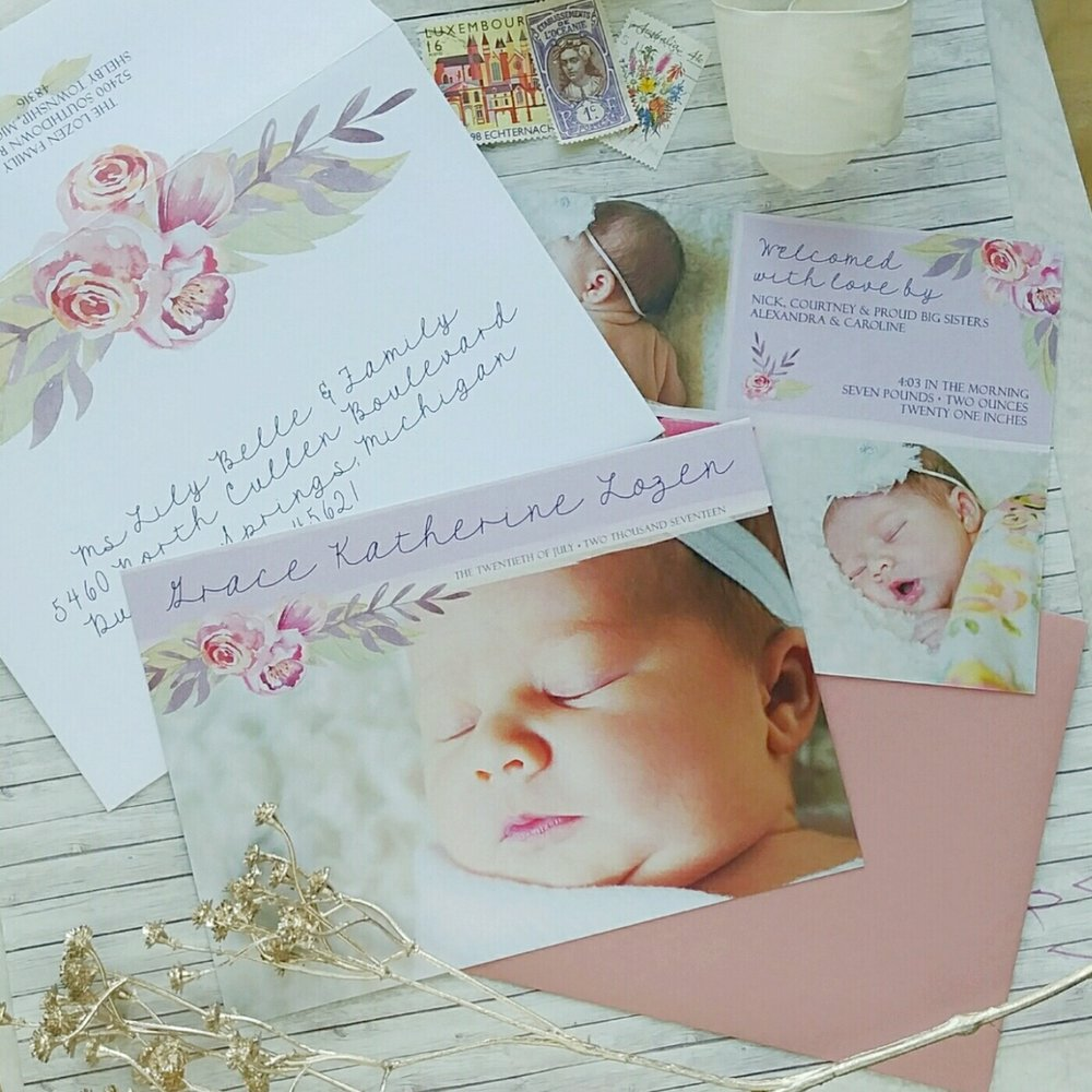 Soft Pink Peony Watercolor Birth Announcement