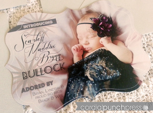 Hollywood Baby Girl Birth Announcement, Custom Shape