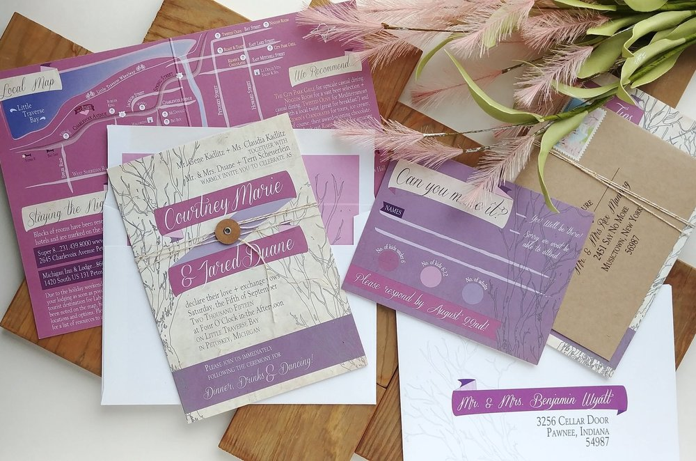 Rustic Mauve & Purple Booklet Invitation Suite