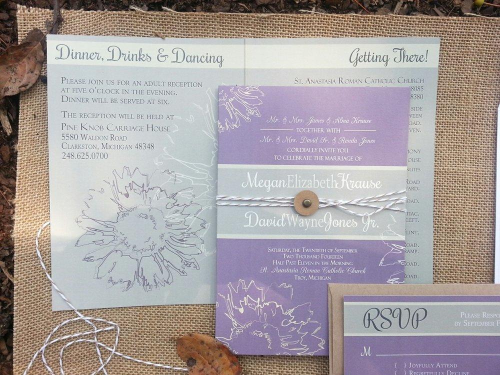 Lavender & Sage Sunflower Booklet Invitation Suite