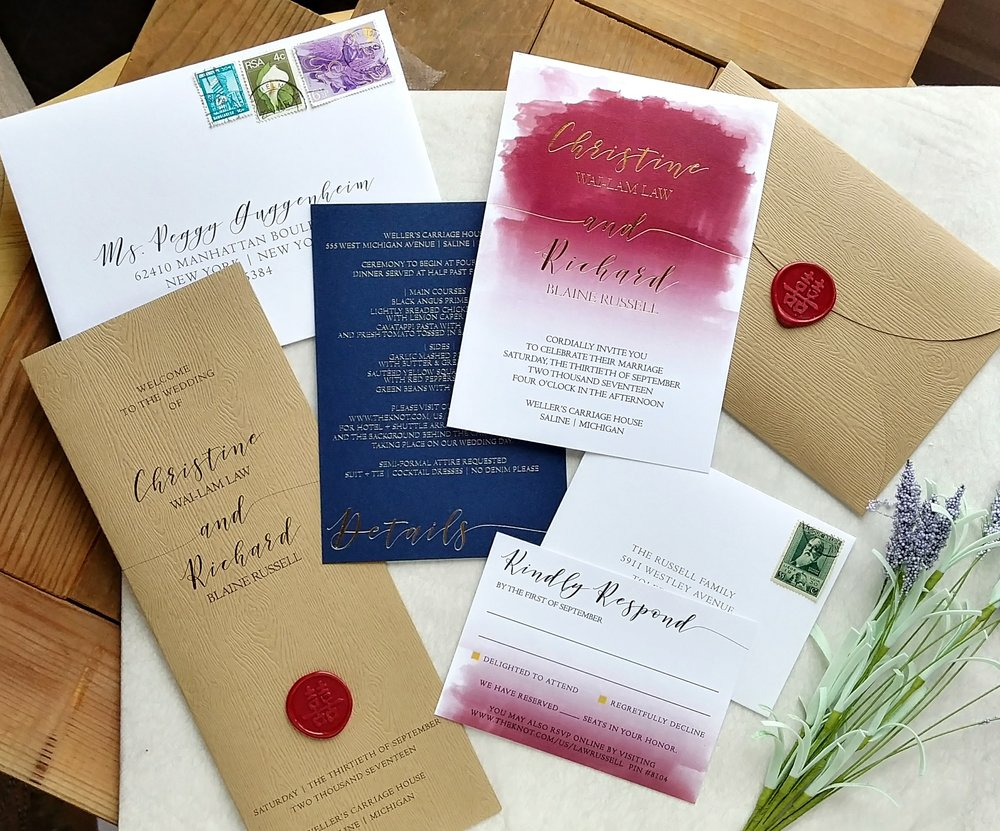 Gold Foil & Burgundy Watercolor Pocket Invitation Suite