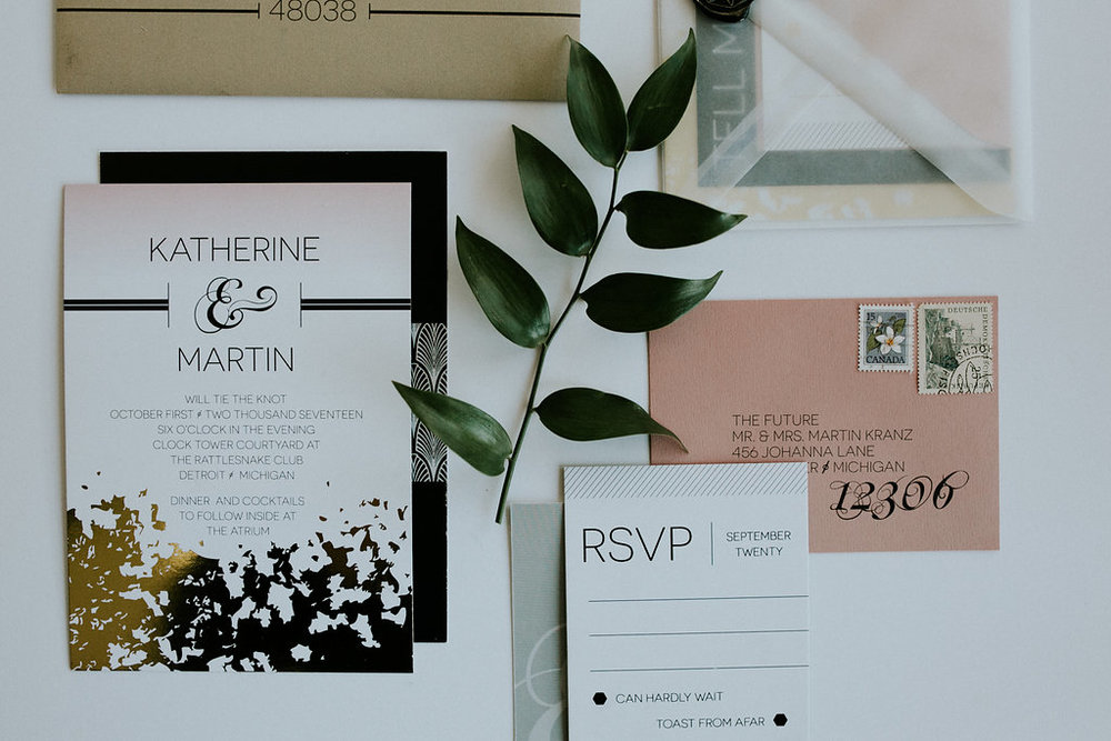 Gold Foil & Pink Ombre Wedding Invitation Suite
