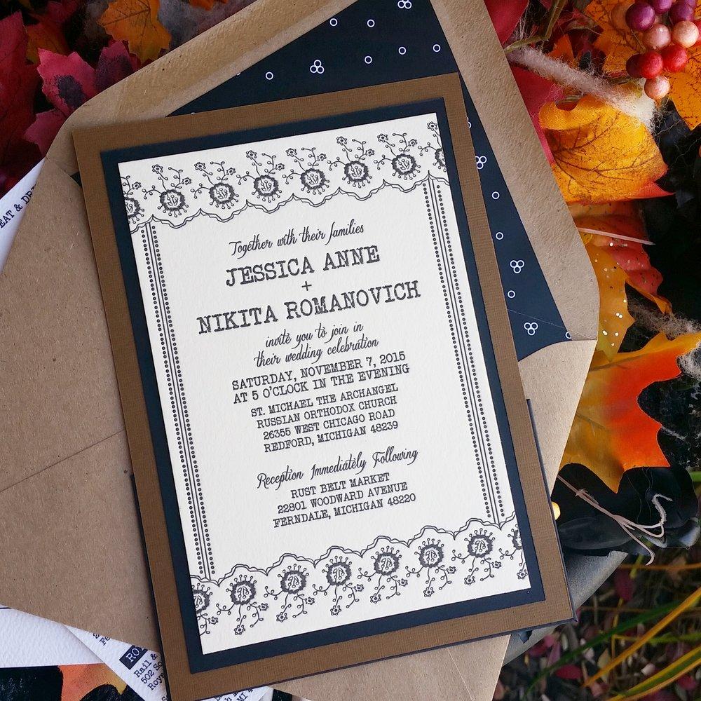 Neutral Palette Letterpress Panel Pocket Invitation Suite