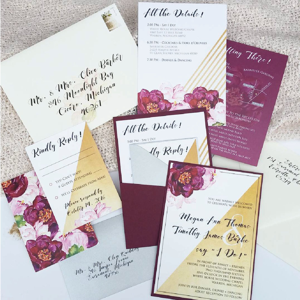 Burgundy Floral & Gold Panel Pocket Invitation Suite