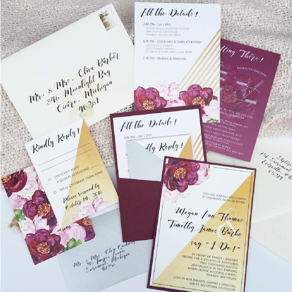 Burgundy Floral & Gold Panel Pocket Invitation Suite