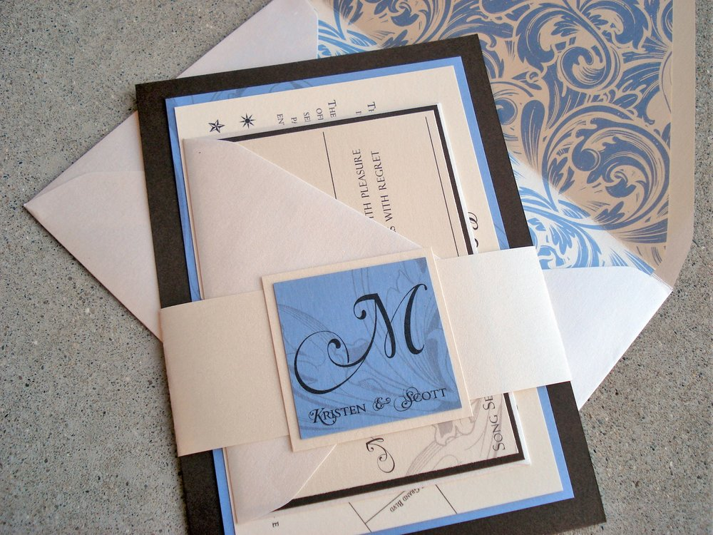 Blue Damask & Chocolate Layered Invitation Suite