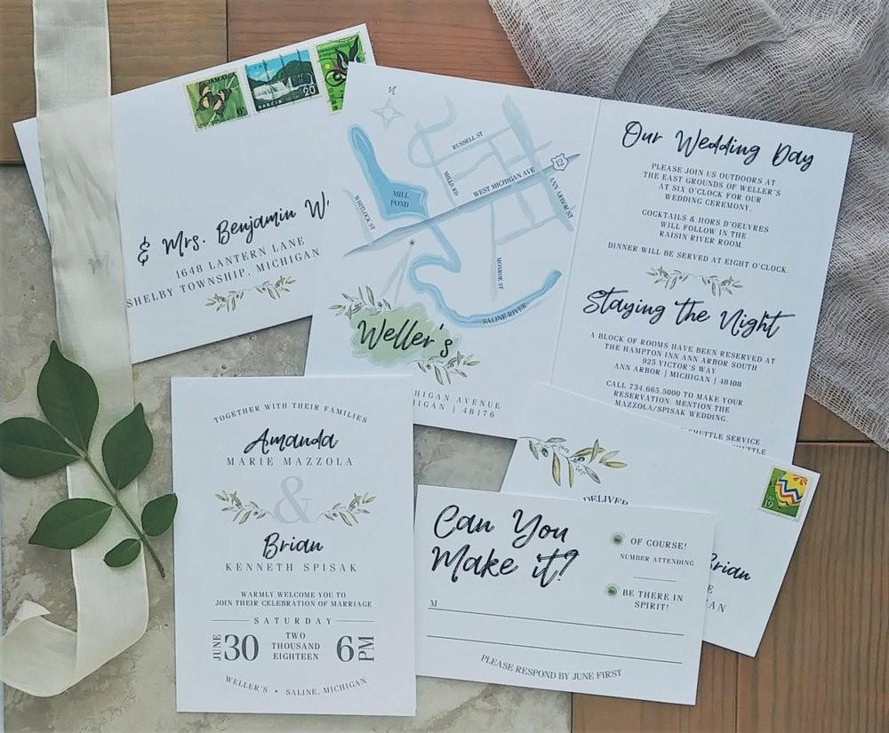 Cordial Punch Press Fresh Minimal Greenery Booklet Wedding Invitation