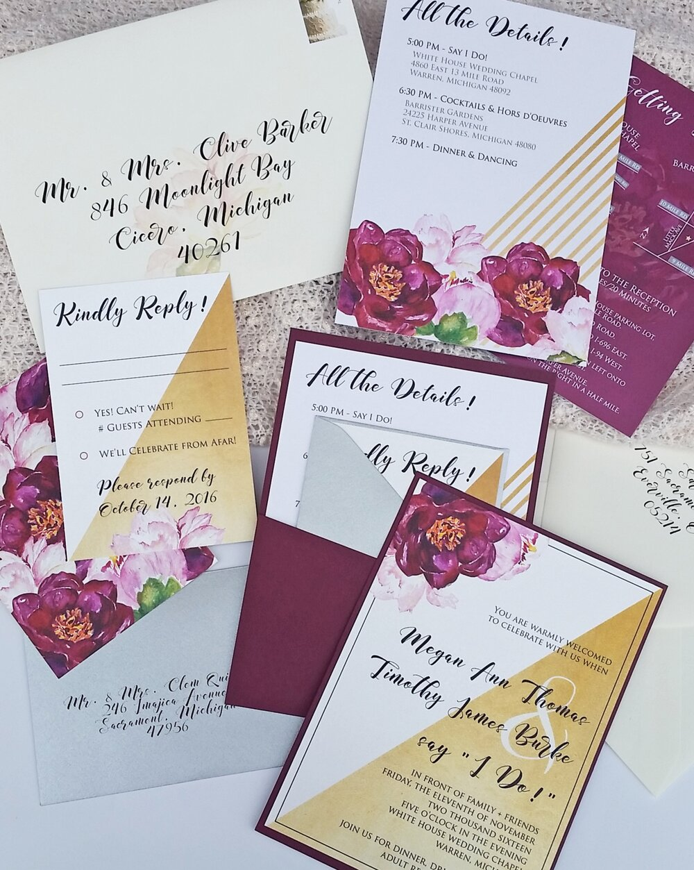 Gold & Burgundy Watercolor Floral Panel Pocket Custom Wedding Invitation, Full Suite