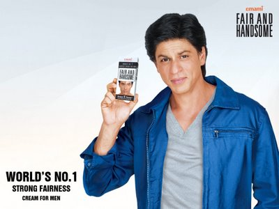 Here's our very own Shah Rukh Khan, promoting the 'male' version of Fair & Lovely -  Fair & Handsome.