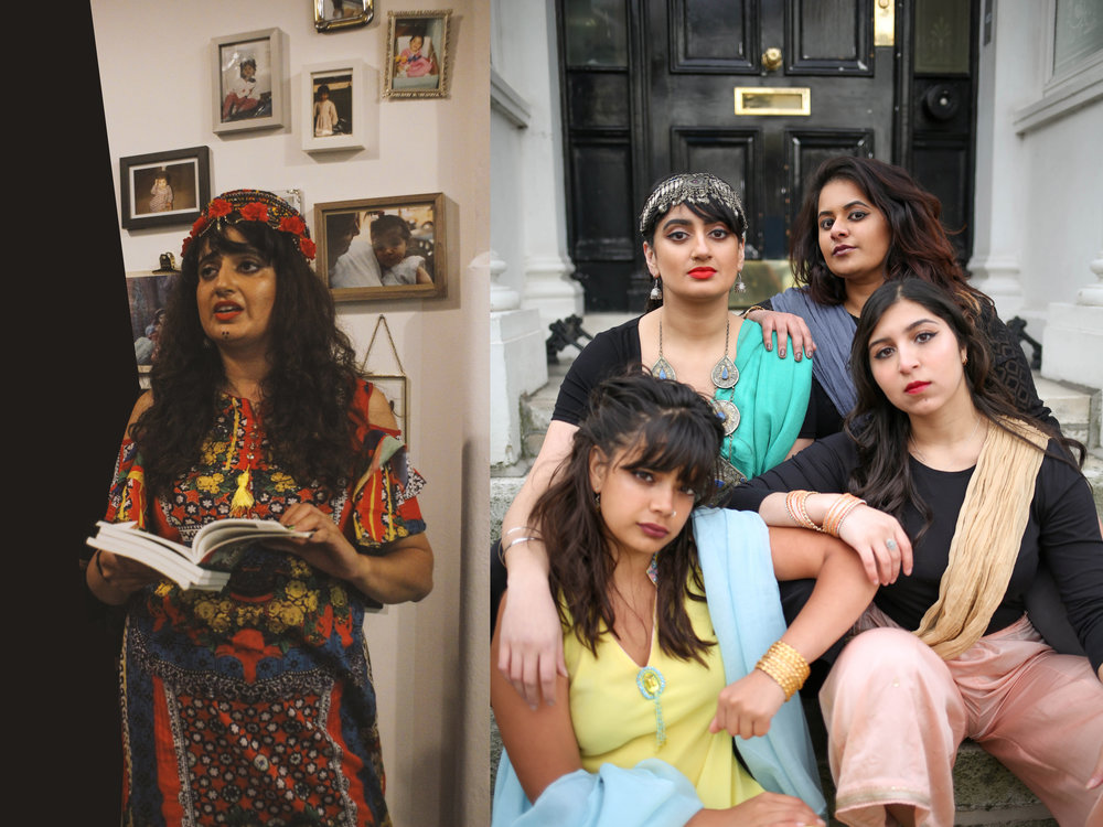 Left, Shagufta performing spokem word on the launch part of the BOBBA Exhibition. Photo credit: Joe Fetta  Right, the Yoniverse Collective (bottom left, clockwise) Shareefa Energy, Shagufta Iqbal, Afshan D'souza-Lodhi, Amani Saeed. Photo credit: Kiran Gidda