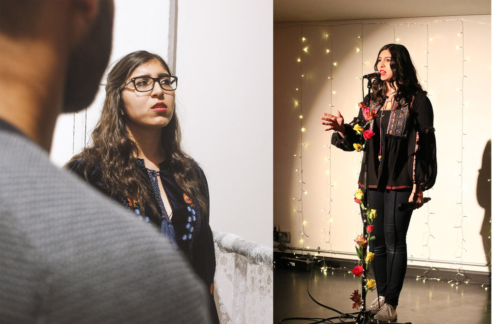 Left, Amani performing spoken word at the BOBBA Exhibition launch party. Photo credit: Joe Fetta  Right, Amani at Golden Tongue with the Yoniverse. Photo credit: Christy Ku